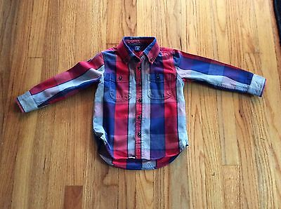 BABY GAP Boy 4 Years Toddler Long Sleeve Plaid Button Down Shirt NWOT Blue Red