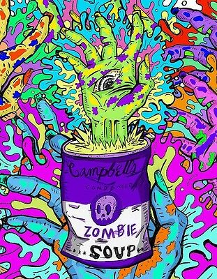 CAMPBELLS ZOMBIE SOUP TRIPPY ART IMAGE A4 Poster Gloss Print Laminated