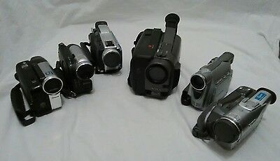 lot of six camcorders for parts or repair sony, canon, panasonic.