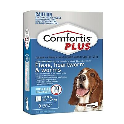 Comfortis Plus (Panoramis) for Dogs Flea & Worm Tablets 18.1-27kg - Blue 3 Pack