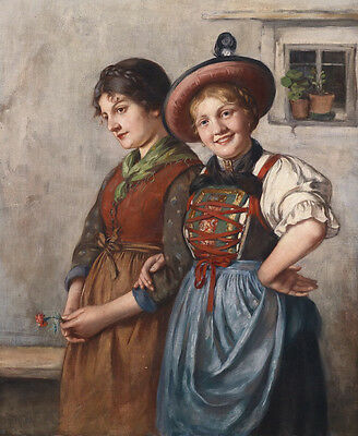 Art Oil painting two nice young girls holding little flowers wearing hat canvas