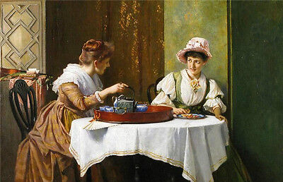 Oil painting Robert Payton Reid Afternoon Tea Time two young women Hand painted