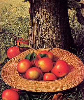 Oil painting Hand painted still life Apples Hat & Tree under the tree landscape