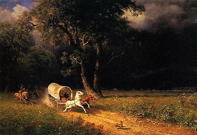 Hand painted Oil painting landscape running carriage - The Ambush in sundown