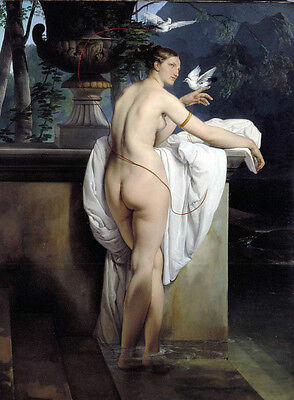 Huge oil painting nude naked young lady after bath by stream landscape & Pigeons