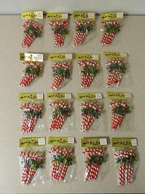 16 Vintage Packs (96 Total) Candy Cane Holly Berry Christmas Ornaments New