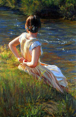 Fine Oil painting beautiful young girl Prepare a bath by creek landscape canvas