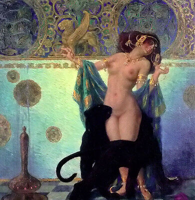 Oil painting franz helbing - scheherazade nudes woman standing Hand painted