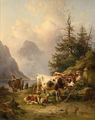 """Wholesale oil painting Rancher woman with cows cattles Calf by sunset river 36"""""""