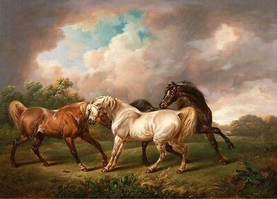 Classical oil painting Four Horses frightened by lightning in storm Hand painted