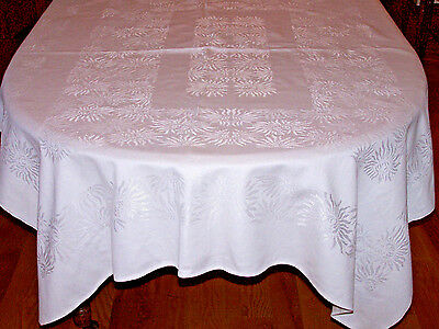 "LOVELY VINTAGE DOUBLE DAMASK TABLECLOTH, CHRYSANTHEMUM DESIGN, 70"" X 60"", c1940"