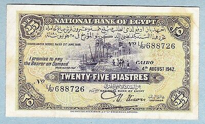1942 Egyptian Currency Note 25 Piastres.  S. # 688726 (L/67).