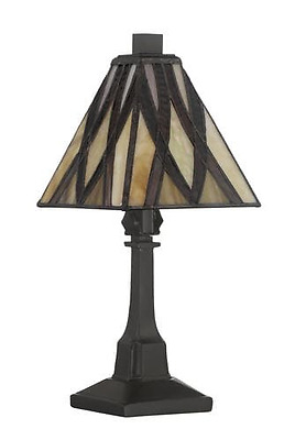Vintage Bronze With Tiffany Style Stained Glass Shade Mini Table Lamp