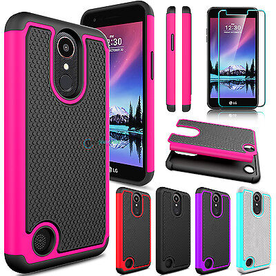 separation shoes 373b9 fd7c4 FOR LG K20 Plus/K20 V/Harmony Hybrid Phone Case +Tempered Glass Screen  Protector