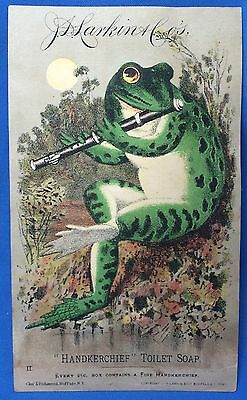 1880s Antique LARKIN Toilet SOAP FROG & FLUTE Victorian Advertising TRADE CARD