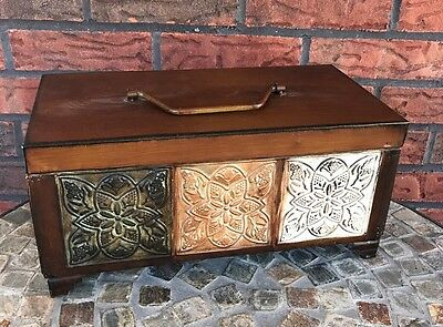 Vintage Like Embossed Decorative Metal Chest Box Footed Hinged Lid Rustic