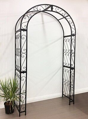 Large Garden Arch Black Outdoor Metal Trellis Entry NEW