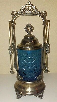 Antique Victorian Forbes Silver Co. Pickle Castor  #673 cobalt blue glass
