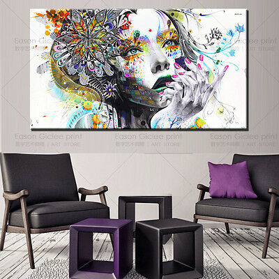 Huge Modern abstract wall art girl with flowers oil painting Print on canvas