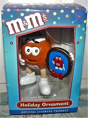 M&M's Holiday Ornament Featuring Orange with Phone Frame with Red NEW IN BOX