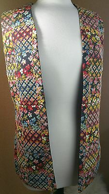 Vintage Embroidered Long Vest Floral Boho Hippy Tapestry Open Front L/XL