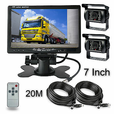 "7"" Monitor + 2x Rear View Camera Night Vision System 66Ft For RV Truck Bus Crane"