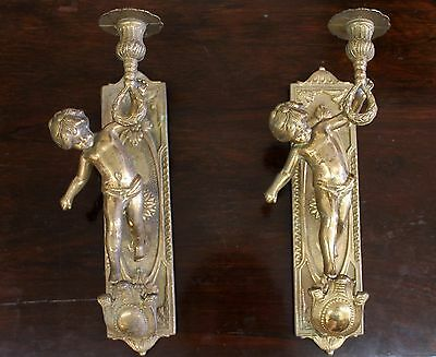 Antique 1920s Brass Wall Sconces Lights Candelabras with Cherub Figures