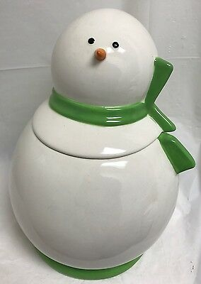 "Snowman Cookie Jar Candy Dish w/ Lid Green Scarf Carrot Nose Eyes Coal 11"" Tall"