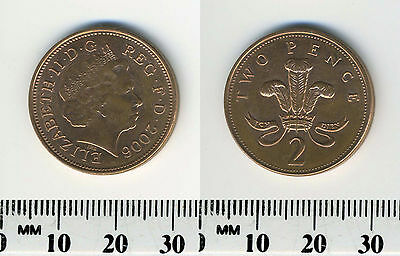 GREAT BRITAIN 2006 - 2 Pence Copper Plated Steel Coin - Welsh plumes and crown