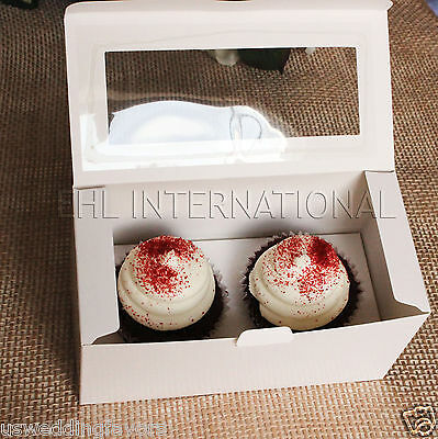 Pack of 25pcs Cupcake Muffin Boxes WHITE W/Insert 2 Holes Party Favor Bakery