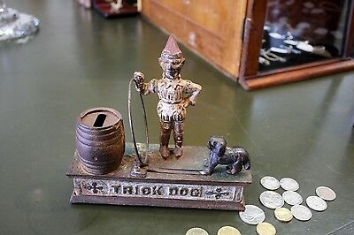 Vintage Cast Cast Iron Trick Dog Mechanical Money Bank, Box