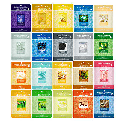 20 PCS Korean Essence Facial Mask Sheet, Moisture Face Mask Pack Skin Care Lots