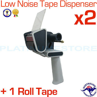2 x Low Noise Heavy Duty Commercial Packing Tape Dispenser Gun + 1 Roll Tape