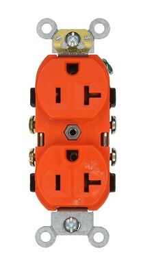 Leviton CR20-0 20 Amp 125 Volt Narrow Body Double Comm Grade Orange 10pk