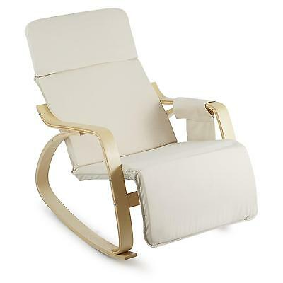Modern Plywood Rocking Chair Home Furniture Garden Side Pocket Beige Recliner