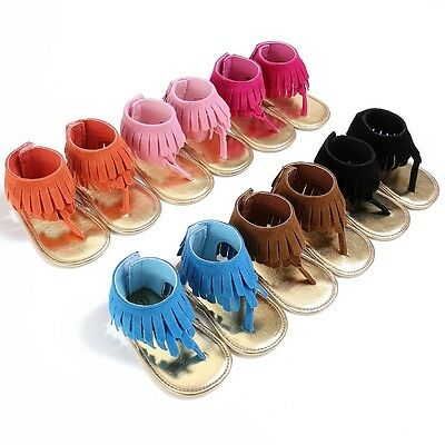 0-18M Baby Toddler Infant Tassel Moccasin Sandal Girls Soft Sole PU Shoes AU