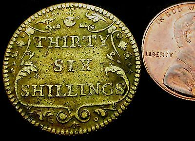S653: Circa 1747 Thirty Six Shillings Coin Weight - Portuguese Gold Four Escudos