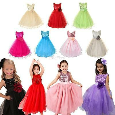 Flower Girl Princess Pageant Wedding Party Formal Birthday Kids Tulle Dress 3-10