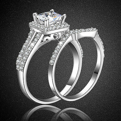 2x Women Silver Plated Princess Cut Engagement Wedding Bridal Ring Set Advanced