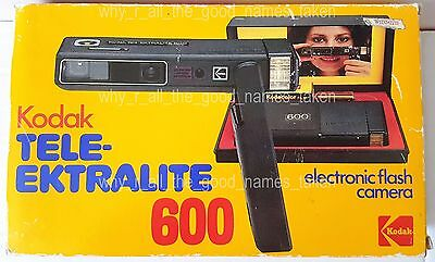 Vintage 1980 KODAK TELE-EKTRALITE 600 Electronic Flash CAMERA & 110 Film in BOX