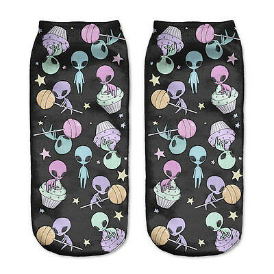 Women Men Colorful Alien Planet Stockings Cotton Blend Cartoon Socks Art Funny