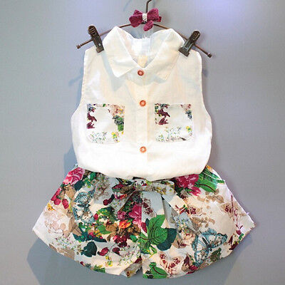 2PCS Kids Toddler Baby Girls Outfits Floral Clothes Shirt Tops+Shorts Pants Set