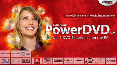 CyberLink PowerDVD V8 BD-Edition OEM BluRay Blurayabspielsoftware 2CH