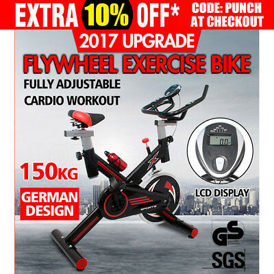 Commercial Spin Bike Flywheel Fitness Exercise Adjustable Home Gym Bicycle LCD
