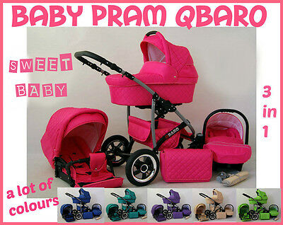 Baby Pram Qbaro 3 In 1 Pushchair Carry Cot Car Seat 10 Different Colors