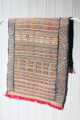 Vintage Retro Silk and Wool Berber Moroccan Kilim Tribal Rug
