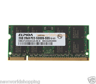 Elpida 2GB PC2-5300 DDR2-667MHz 200PIN SODIMM Laptop Memory RAM Low density CL5