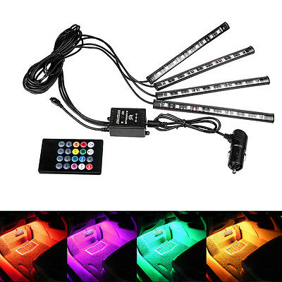 4x 12V 7 Color LED Strip Light Car Interior RGB Atmosphere SMD Neon Light UK