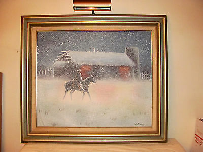 VINTAGE OIL PAINTING ON CANVAS Cowboy in a Snow Storm BY EDWARDS