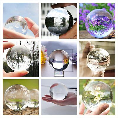 80mm Clear Round Glass Artificial Crystal Healing Ball Sphere Decoration hot UO